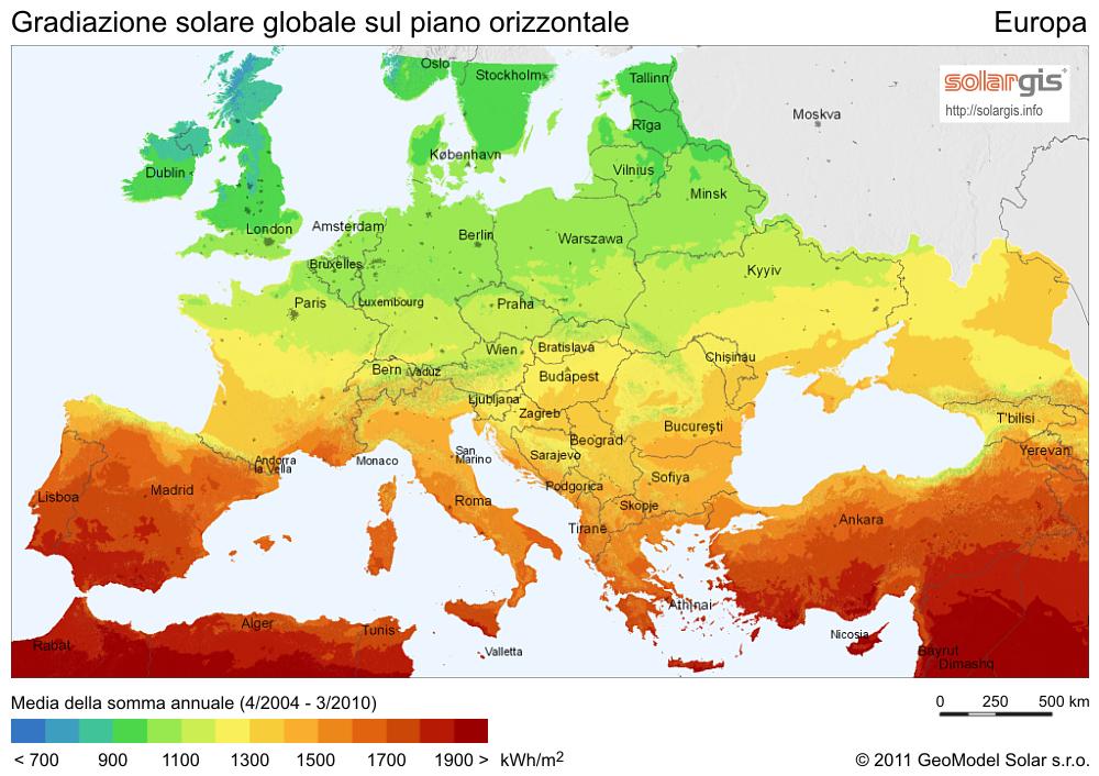 Mappa Irraggiamento Solare in Europa